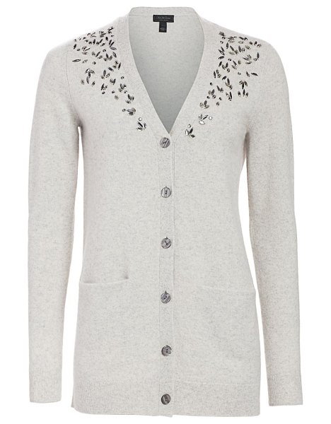 Saks Fifth Avenue collection embellished v-neck cashmere cardigan in snow,dove heather