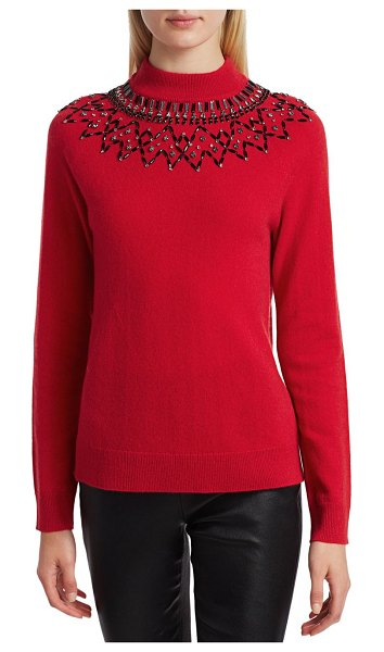 Saks Fifth Avenue COLLECTION Mock-Neck Embellished Cashmere Sweater in fireball red
