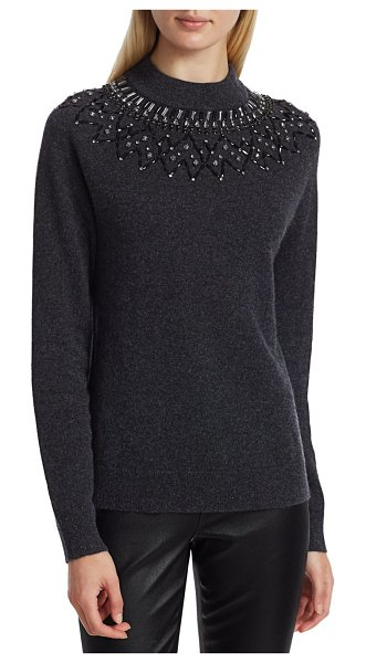 Saks Fifth Avenue COLLECTION Mock-Neck Embellished Cashmere Sweater in charcoal heather