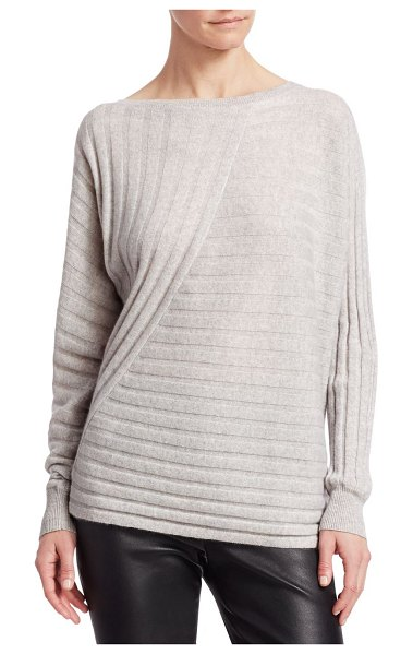 Saks Fifth Avenue COLLECTION Ribbed Cashmere Sweater in dove heather