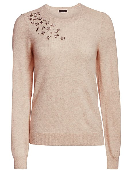 Saks Fifth Avenue embellished cashmere sweater in chanterelle