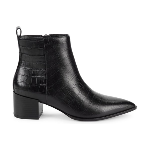 Saks Fifth Avenue Emerson Croc-Embossed Leather Ankle Boots in black