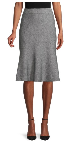 Saks Fifth Avenue Heathered Cotton-Blend Flounce Skirt in black white