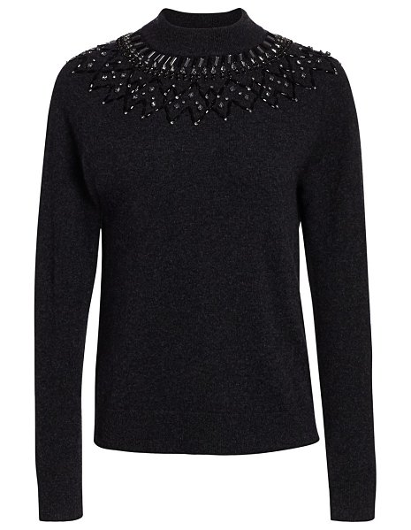 Saks Fifth Avenue mock-neck embellished cashmere sweater in fireball red