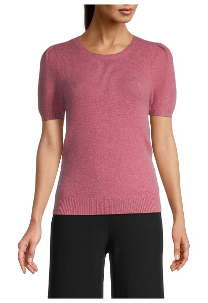 Saks Fifth Avenue Puff-Sleeve Cashmere Knit Top in rose mauve
