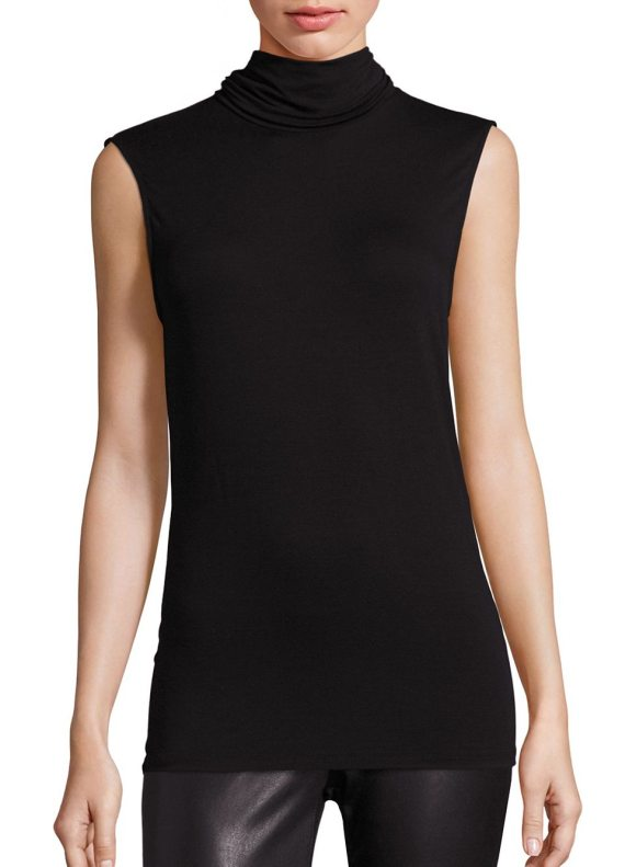 Majestic Filatures soft touch sleeveless turtleneck top in black