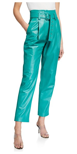 Sally Lapointe Leather Lightweight Pants in green