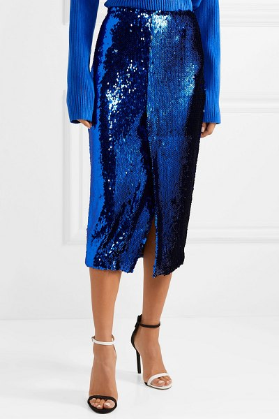 Sally Lapointe sequined tulle midi skirt in royal blue