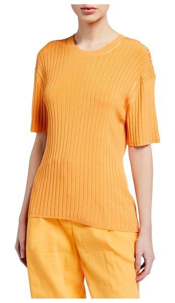 Sally Lapointe Shiny Jersey Ribbed Tee in orange