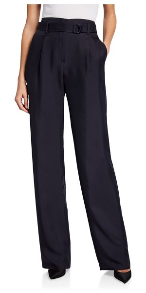Sally Lapointe Silk High-Rise Belted Wide-Leg Pants in navy
