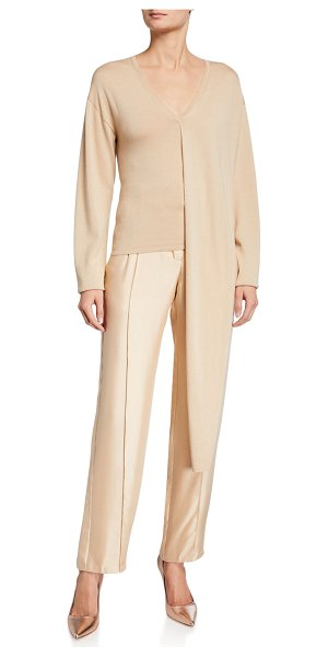 Sally Lapointe Silk-Wool Knit Draped V-Neck Top in khaki