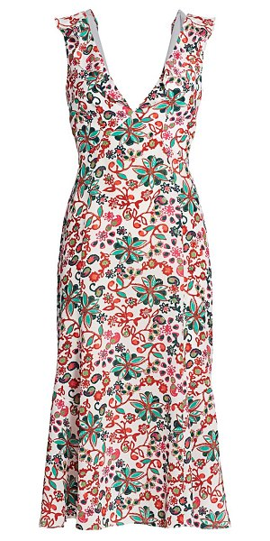 Saloni holly silk crepe de chine dress in ivory succulent