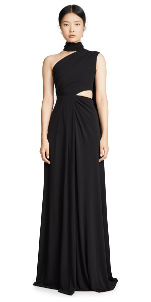 Saloni honey long dress in black