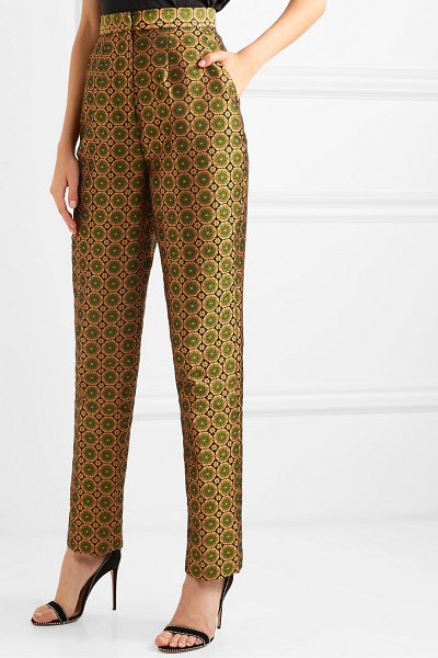 Saloni maxima floral brocade tapered pants in gold