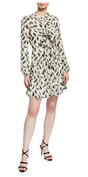 Saloni Tilly Long-Sleeve Floral Silk Mini Dress in black/white