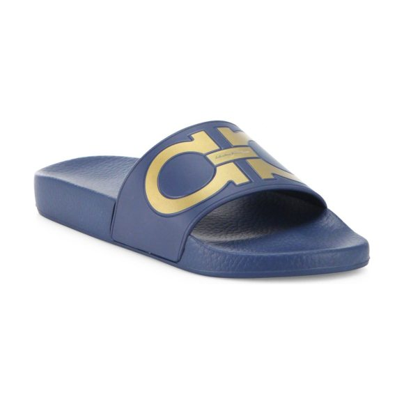 f4e7bd1844e Salvatore Ferragamo women s gancini rubber pool slides in bubble - Rubber  slide topped with metallic double