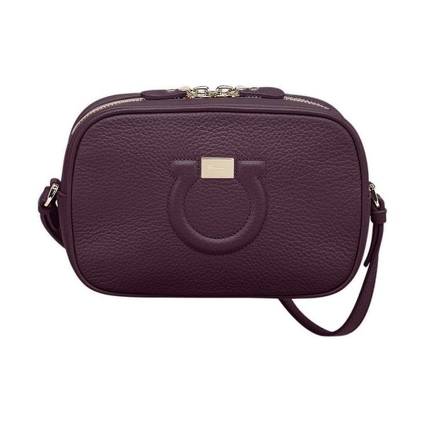 Salvatore Ferragamo gancio leather camera bag in nebbiolo