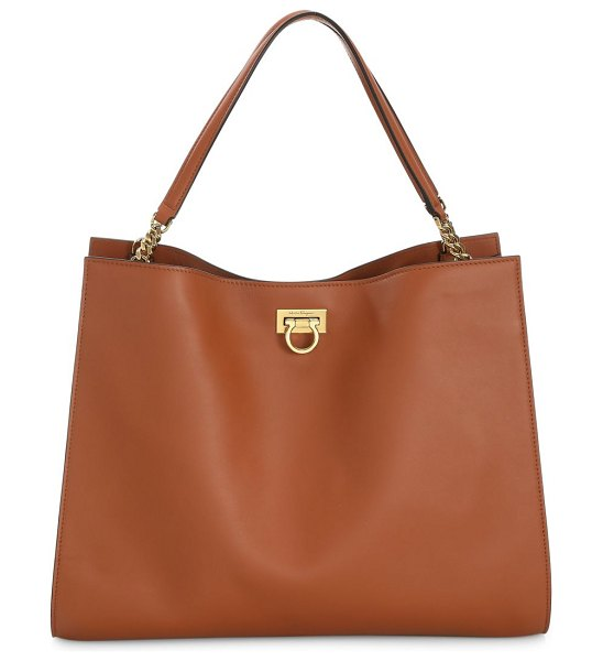 Salvatore Ferragamo medium gancini leather tote in tan