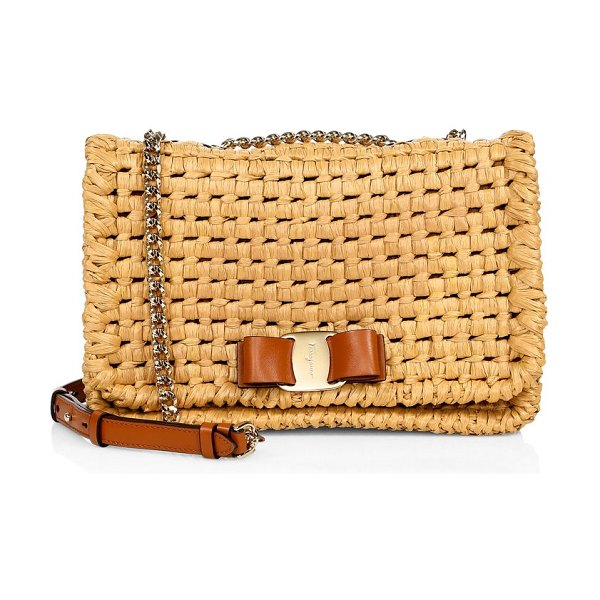 Salvatore Ferragamo medium vara rainbow straw crossbody bag in almond