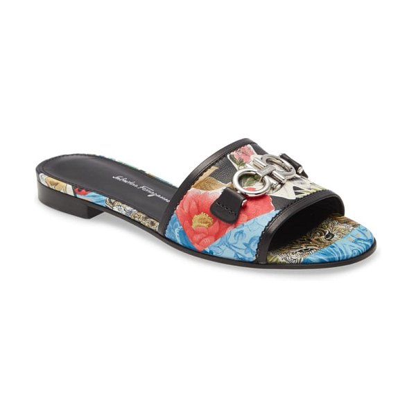Salvatore Ferragamo rhodes floral leather slide sandal in blue/ red/ black
