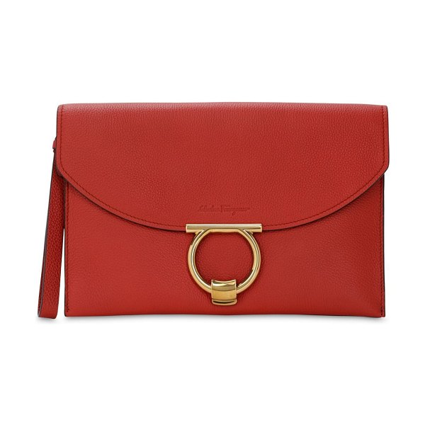 Salvatore Ferragamo Small grained leather clutch in paprica