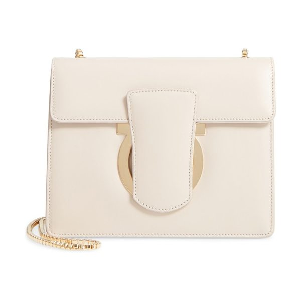 Salvatore Ferragamo small thalia leather crossbody bag in jasmine flower - Sleek, minimalist Gancio hardware steals the show on a...