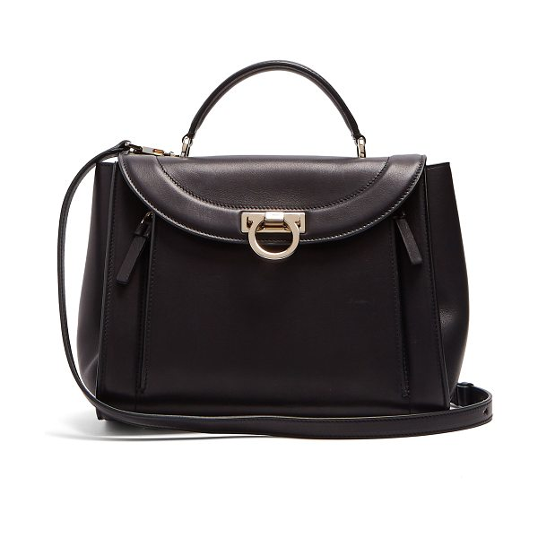 d27101519be8 Salvatore Ferragamo Sophia Rainbow small leather bag in black gold -  Channel Salvatore Ferragamo s timeless chic