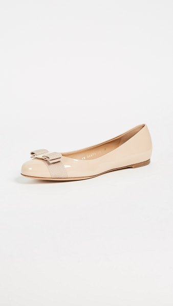 Salvatore Ferragamo varina flats in new bisque
