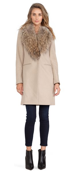 SAM. crosby jacket with asiatic raccoon fur trim in camel & natural