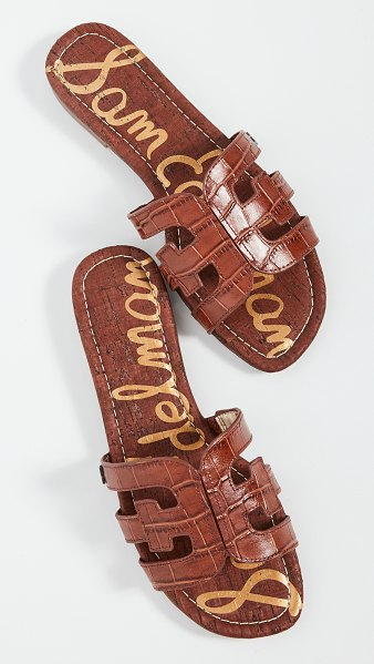 Sam Edelman bay slides in brown croc print