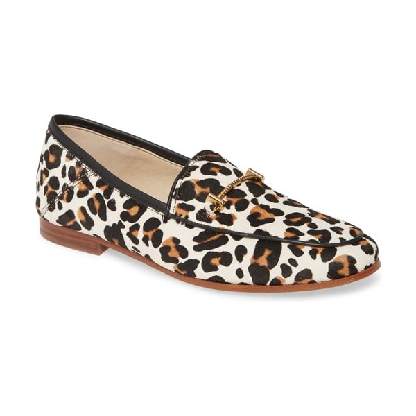 Sam Edelman lior genuine calf hair loafer in white brown multi leopard