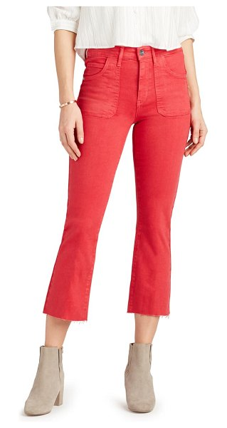 Sam Edelman the stiletto high waist raw hem crop bootcut jeans in cherry