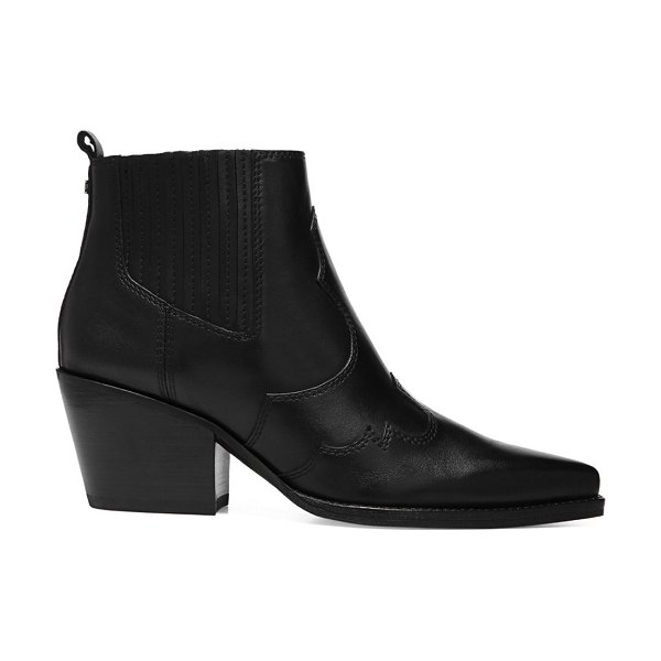 Sam Edelman Winona Western Leather Ankle Boots in black