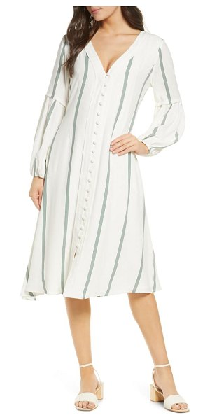 SANCIA the maryse stripe long sleeve silk blend shirtdress in fleur stripe