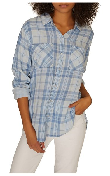 Sanctuary plaid boyfriend shirt in bleach out white - With its lived-in softness and easy fit, this...