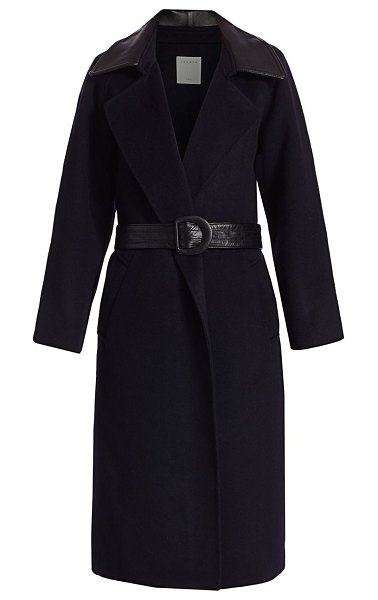 Sandro linna leather-accent belted wrap coat in navy