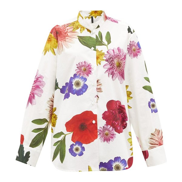 Sara Lanzi floral-print cotton-poplin shirt in white multi