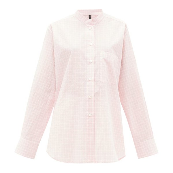 Sara Lanzi graph-checked tumbled cotton-poplin shirt in light pink