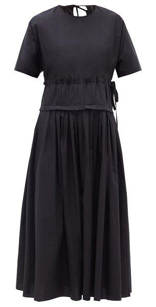 Sara Lanzi pleated-waist cotton midi dress in black