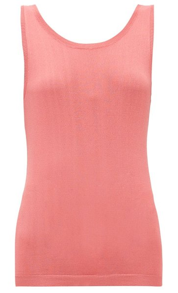 Sara Lanzi scoop-back knitted tank top in coral