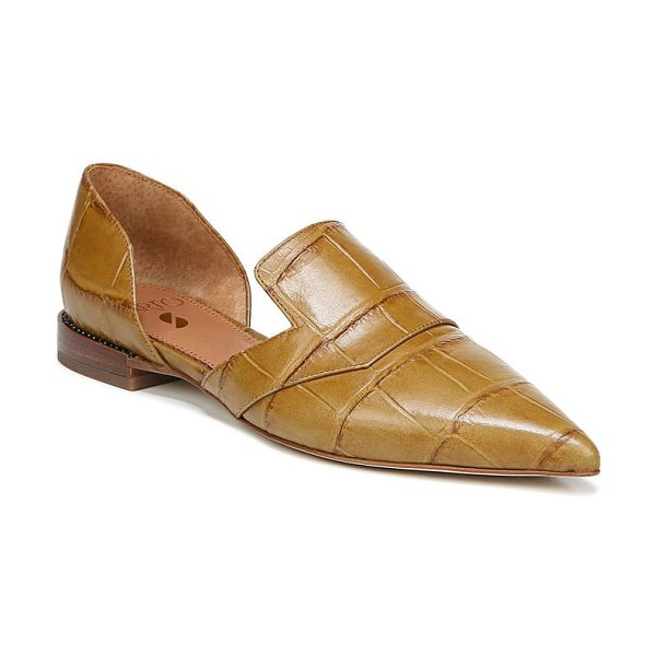 SARTO By Franco Sarto toby pointed toe flat in beige croco print leather