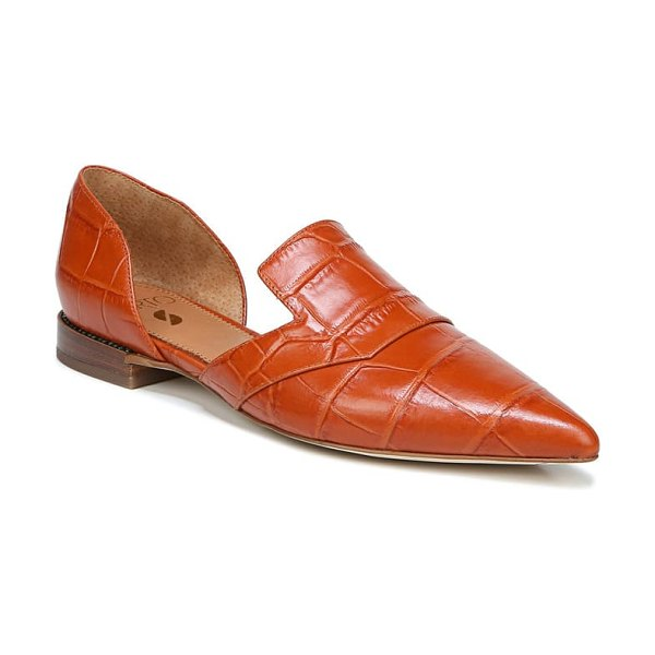 SARTO By Franco Sarto toby pointed toe flat in orange croco print leather