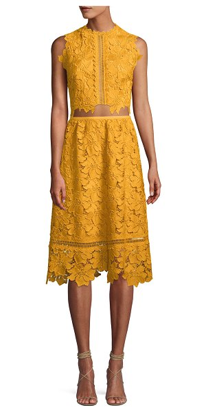 7bf85eb4cf24 Saylor Mariah Two-Piece Set W/ Crop Top & Lace Skirt in Yellow ...