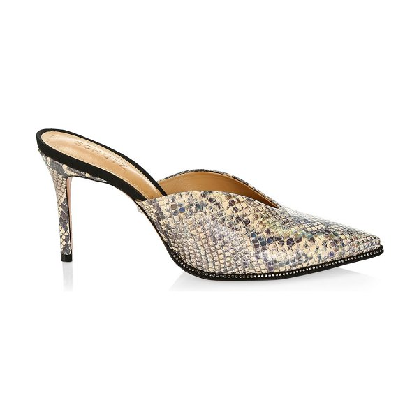 Schutz heliconia notched snakeskin-embossed leather mules in eggshell