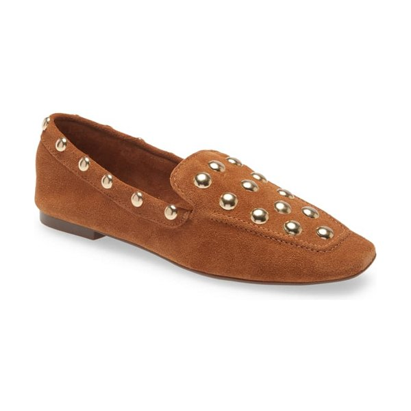 Schutz laurie studded loafer in wood suede