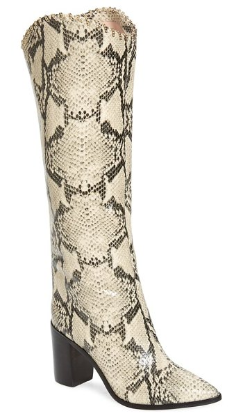Schutz valy knee high boot in natural snake print leather