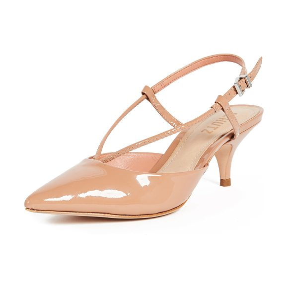 Schutz wera slingback kitten heel pumps in toasted nut - Patent-leather Schutz sandals with a pointed-toe profile...
