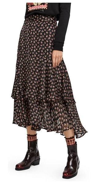 Scotch & Soda print ruffle midi skirt in combo e