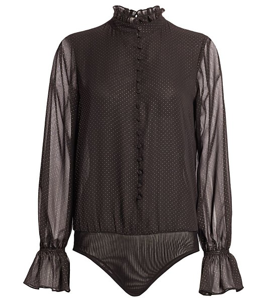 Scripted dotted chiffon long-sleeve bodysuit in black gold