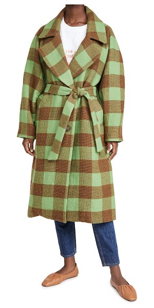 Sea clement check wool coat in apple
